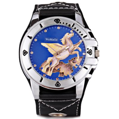 Гаджет   Stylish Men Watch Analog with Horse Round Dial Leather Watch Band Men