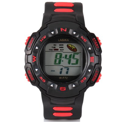 Superb Waterproof Design LED Watch with Day/Date Round Dial and Rubber Band
