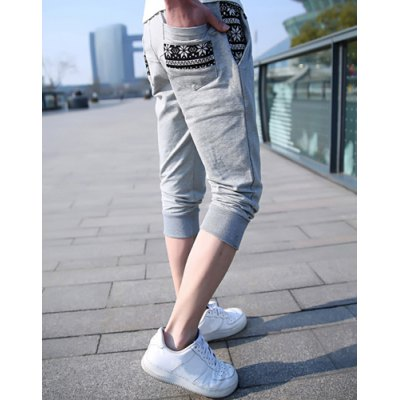 Гаджет   Casual Style Snowflake Print Applique Pockets Polyester Cropped Harem Pants For Men Pants