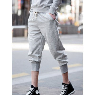 Slimming Casual Lace-Up Solid Color Beam Feet Cotton Capri Pants For Men