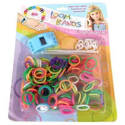 Фотография DIY Loom Bands Colorful Rubber Rings Bracelet Toy Set with Watch for Kids (Random Color)