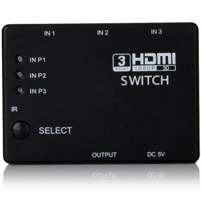 Гаджет   3 Input 1 Output HDMI 1.4 Switcher with Kdy - press - switching Function