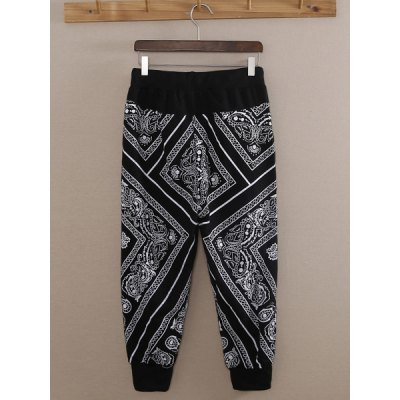 Slimming Trendy Lace-Up Paisley Print Beam Feet Cotton Nine Minutes of Pants For Men