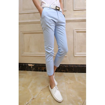 Гаджет   Elegant Fitted Solid Color Stereo Clipping Polyester Nine Minutes Pants For Men Pants