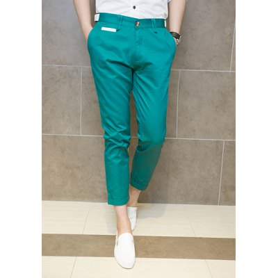 ФОТО Fashion Slimming Color Block Waist Polyester Nine Minutes Pants For Men