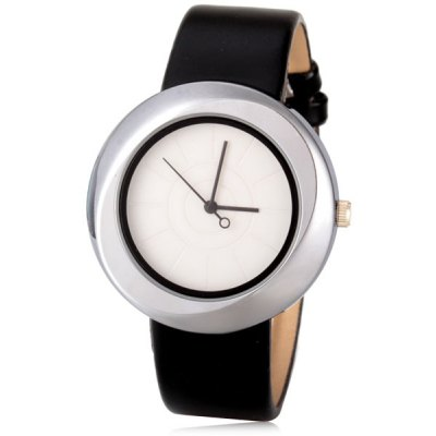 Cool Women Watch Analog with Round Dial Leather Watch Band