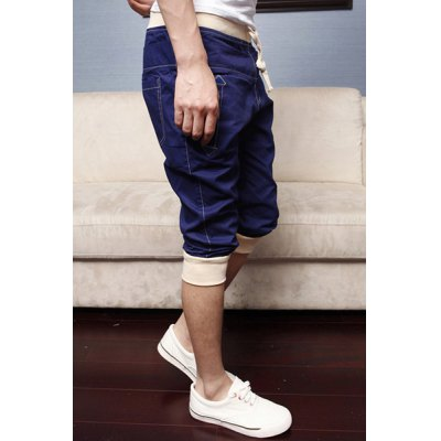 Casual Style Color Block Waist Drawstring Design Polyester Cropped Pants For Men