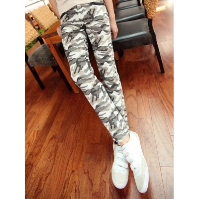 Гаджет   Slimming Trendy Camo Pattern Color Block Splicing Narrow Feet Cotton Pants For Men Pants