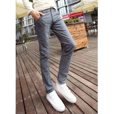 Гаджет   Slimming Trendy Color Block Stitching Narrow Feet Cotton Pants For Men Pants