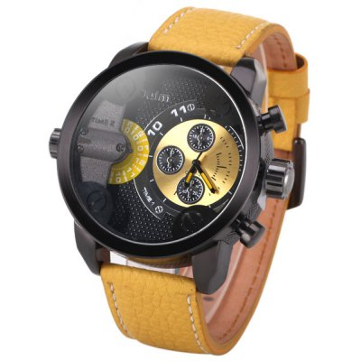 Military Watches with Japan Double - movt Three Small Decorating Hands Leather Band and Gift Box