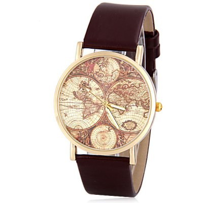 Women Watch Analog with Map Round Dial Leather Watch Band
