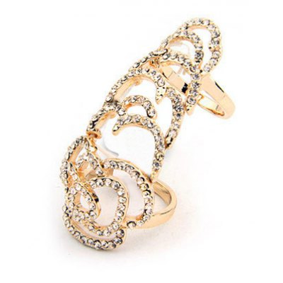Rhinestone Openwork Joint Ring