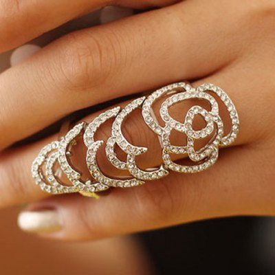 Stylish Rhinestone Openwork Joint RingRings<br>Stylish Rhinestone Openwork Joint Ring<br><br>Gender: For Women<br>Material: Rhinestone<br>Metal Type: Lead-tin Alloy<br>Style: Trendy<br>Shape/Pattern: Others<br>Metal Color: Antique Silver Plated<br>Weight: 0.050KG<br>Package Contents: 1 x Ring