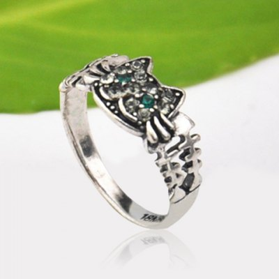 Cute Solid Color Rhinestone Inlaid Cat Ring For Women