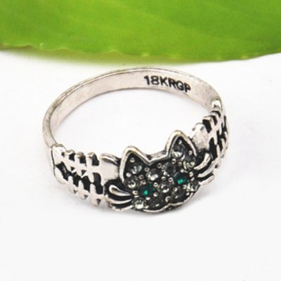 Cute Solid Color Rhinestone Inlaid Cat Ring For WomenRings<br>Cute Solid Color Rhinestone Inlaid Cat Ring For Women<br><br>Gender: For Women<br>Material: Rhinestone<br>Metal Type: Lead-tin Alloy<br>Style: Trendy<br>Shape/Pattern: Animal<br>Metal Color: Antique Silver Plated<br>Diameter: 1.7CM<br>Weight: 0.050KG<br>Package Contents: 1 x Ring