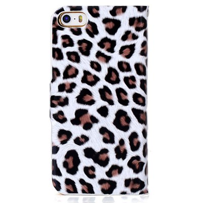Stylish Leopard Design PU + PC Protective Stand Case with Card Holder for iPhone 5 / 5S