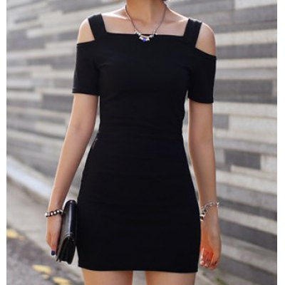Off-The-Shoulder Black Bodycon Dress