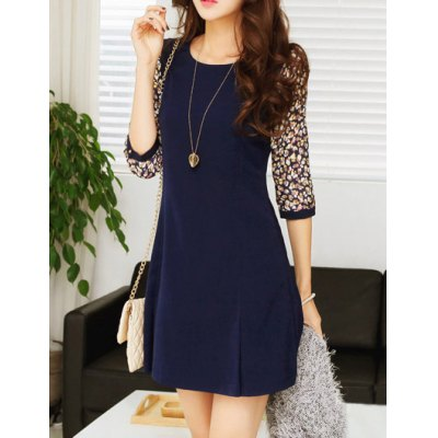 Chic Style Round Collar Ruffled Tiny Floral Print 3/4 Sleeves Women's Dress