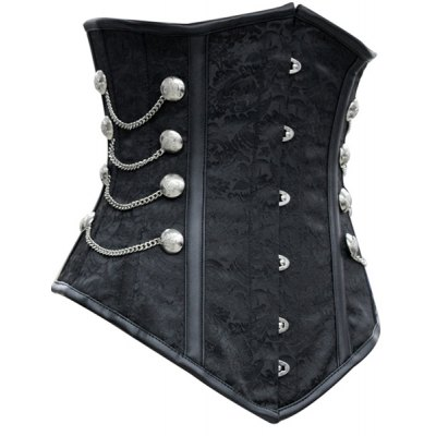 Sexy Strapless Chains Decorated Lace Up Black Women's Corsets