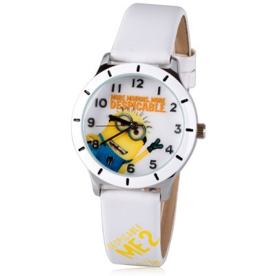 Fashion Women Watch Analog with Bee-do Round Dial Leather Watch Band