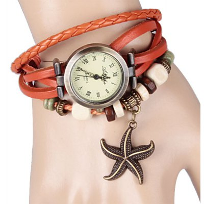 Watch with Starfish Pendant Round Dial Leather Band for Women