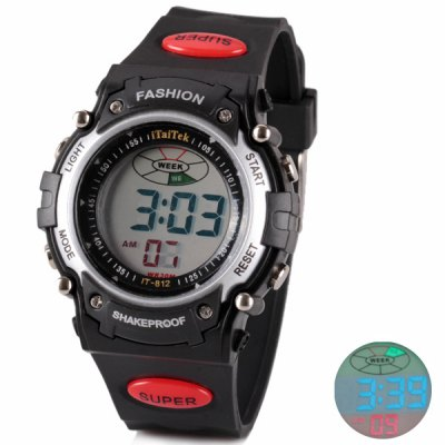 Cool Waterproof Design LED Watch with Day/Date Round Dial and Rubber Band
