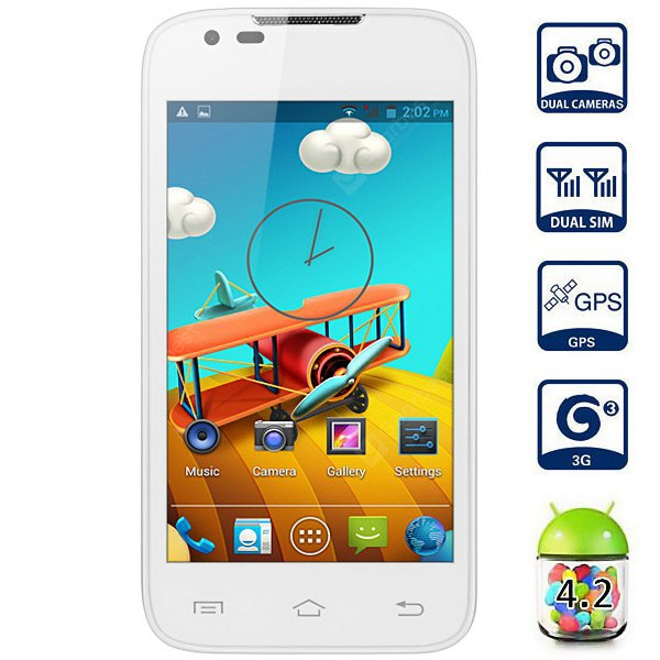 Android 4.2 L5 3G Smartphone with 4.0 inch WVGA Screen MTK6572 Dual Core 1.3GHz GPS WiFi Dual Camera