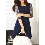Chic Style Round Collar Ruffled Tiny Floral Print 3/4 Sleeves Women's Dress deal