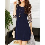 cheap Chic Style Round Collar Ruffled Tiny Floral Print 3/4 Sleeves Women's Dress