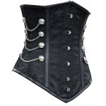 cheap Sexy Strapless Chains Decorated Lace Up Black Women's Corsets