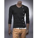 Buy Fashion Style V-Neck Buttons Embellished Long Sleeves Cotton Men's T-shirt M BLACK