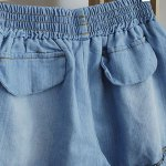 Splicing Stringy Selvedge Drawstring Scalloped Denim Shorts for sale