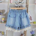 cheap Splicing Stringy Selvedge Drawstring Scalloped Denim Shorts
