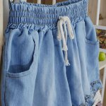 Splicing Stringy Selvedge Drawstring Scalloped Denim Shorts deal