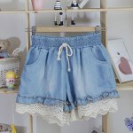 Splicing Stringy Selvedge Drawstring Scalloped Denim Shorts