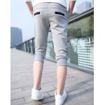 Buy Casual Style Personalized Color Block Drawstring Design Polyester Cropped Harem Pants Men L GRAY
