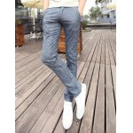 Buy Slimming Trendy PU Leather Embellished Houndstooth Splicing Narrow Feet Cotton Pants Men 29