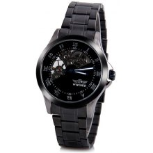 Winner Unique Waterproof Men Mechanical Watch with Analog Round Dial Steel Watchband