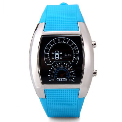 Fashion Digital Design LED Newest Car Watch with Day/Date Elliptical Dial and Rubber Band