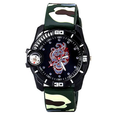 Cool Skull Head Round Dial Army Camouflage Style Silicone Strap Quartz Watch with Decorative Compass for MenMens Watches<br>Cool Skull Head Round Dial Army Camouflage Style Silicone Strap Quartz Watch with Decorative Compass for Men<br><br>Watches categories: Male table<br>Watch style: Military<br>Movement type: Quartz watch<br>Shape of the dial: Round<br>Display type: Pointer<br>Band material: Silica gel<br>Clasp type: Buckle<br>Special features: A compass<br>The dial thickness: 1.0 cm / 0.4 inches<br>The dial diameter: 4.4 cm / 1.7 inches<br>Product weight: 0.053 kg<br>Product size (L x W x H): 25.0 x 4.4 x 1.0 cm / 9.8 x 1.7 x 0.4 inches<br>Package Contents: 1 x Watch
