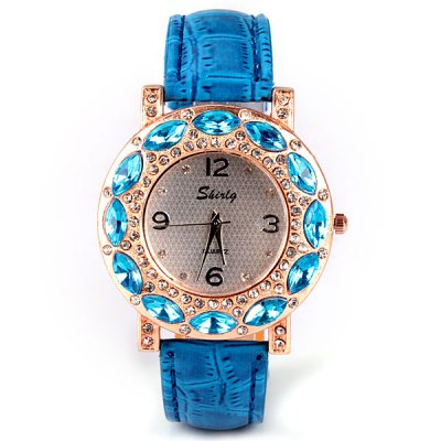Stylish Women Watch Analog with Diamonds Round Dial Leather Watch BandWomens Watches<br>Stylish Women Watch Analog with Diamonds Round Dial Leather Watch Band<br><br>Watches categories: Female table<br>Movement type: Quartz watch<br>Shape of the dial: Round<br>Display type: Pointer<br>Case material: Stainless steel<br>Band material: Leather<br>Clasp type: Pin buckle<br>The dial thickness: 0.7 cm/0.3 inch<br>The dial diameter: 4.0 cm/1.6 inch<br>Product weight: 0.035 kg<br>Product size (L x W x H) : 24.0 x 4.0 x 0.7 cm/9.4 x 1.6 x 0.3 inches<br>Package contents: 1 x Watch