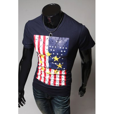 casual-style-round-neck-america-flag-print-short-sleeves-men-polyester-t-shirt