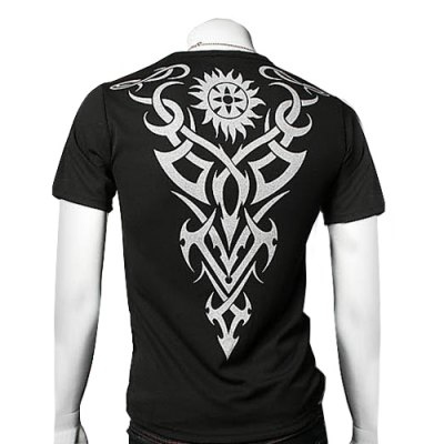 Casual Style Round Neck Tattoos Print Short Sleeves Men's Polyester T-shirt