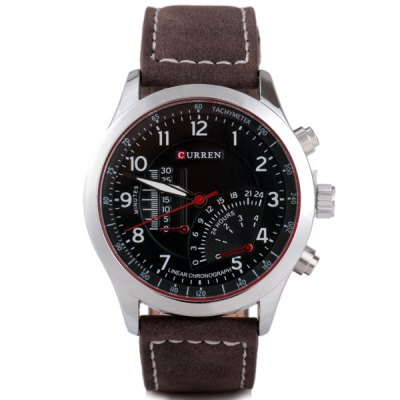 Curren Unique Men Watch Analog with Round Dial Leather Watch BandMens Watches<br>Curren Unique Men Watch Analog with Round Dial Leather Watch Band<br><br>Brand: Curren<br>Watches categories: Male table<br>Watch style: Fashion<br>Movement type: Quartz watch<br>Shape of the dial: Round<br>Display type: Pointer<br>Case material: Stainless steel<br>Band material: Leather<br>Clasp type: Pin buckle<br>Water Resistance: Life waterproof<br>The dial thickness: 1.2 cm/0.5 inch<br>The dial diameter: 4.3 cm/1.7 inch<br>Product weight: 0.058 kg<br>Product size (L x W x H): 25.3 x 4.3 x 1.2 cm/10.0 x 1.7 x 0.5 inches<br>Package Contents: 1 x Watch