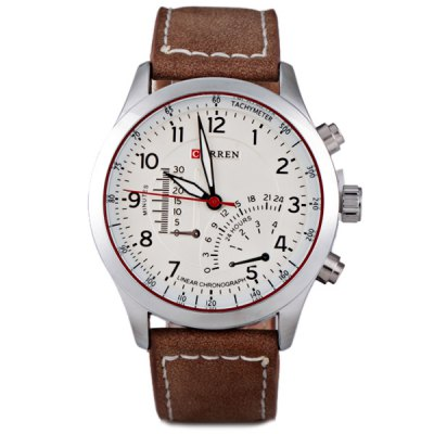 Гаджет   Curren Unique Men Watch Analog with Round Dial Leather Watch Band Men