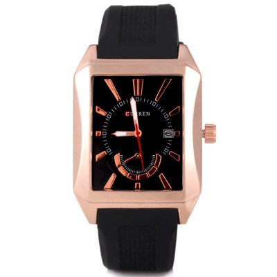 Curren Unique Waterproof Men Watch Analog with Date Rectangle Dial Silicone Watch BandMens Watches<br>Curren Unique Waterproof Men Watch Analog with Date Rectangle Dial Silicone Watch Band<br><br>Brand: Curren<br>Watches categories: Male table<br>Watch style: Fashion<br>Movement type: Quartz watch<br>Shape of the dial: Rectangle<br>Display type: Pointer<br>Case material: Stainless steel<br>Band material: Silica gel<br>Clasp type: Pin buckle<br>Special features: Calendar<br>Water Resistance: Life waterproof<br>The dial thickness: 1.2 cm/0.5 inch<br>The dial diameter: 3.9 cm/1.7 inch<br>Product weight: 0.095 kg<br>Product size (L x W x H): 26.5 x 3.9 x 1.2 cm/10.4 x 1.5 x 0.5 inches<br>Package Contents: 1 x Watch