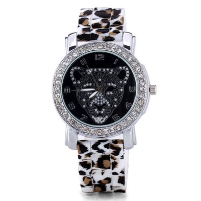 Cool Women Watch Analog with Diamonds Leopard Round Dial Silicone Watch BandWomens Watches<br>Cool Women Watch Analog with Diamonds Leopard Round Dial Silicone Watch Band<br><br>Watches categories: Female table<br>Style : Diamond<br>Movement type: Quartz watch<br>Shape of the dial: Round<br>Display type: Pointer<br>Case material: Stainless steel<br>Band material: Silica gel<br>Clasp type: Pin buckle<br>The dial thickness: 0.8 cm/0.3 inch<br>The dial diameter: 4.2 cm/1.7 inch<br>Product weight: 0.06 kg<br>Product size (L x W x H) : 25.3 x 4.2 x 0.8 cm/10.0 x 1.7 x 0.3 inches<br>Package contents: 1 x Watch