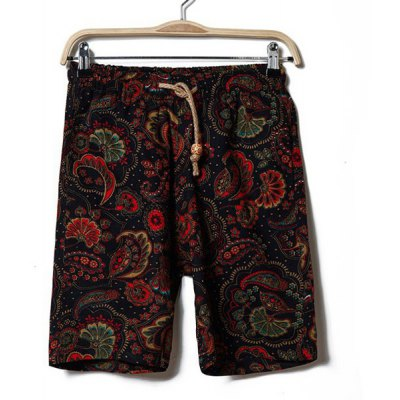 Casual Style Color Block Ethnic Floral Print Drawstring Design Linen Shorts For Men