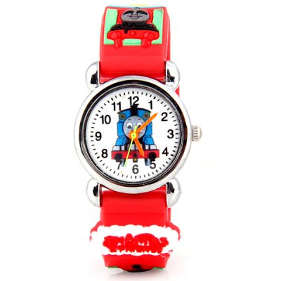 Watch with Thomas Patterned Round Dial and Rubber Band for Children