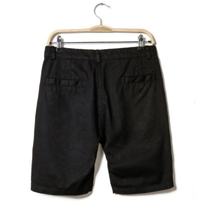 Casual Style Zipper Fly Stereo Clipping Solid Color Polyester Shorts For Men